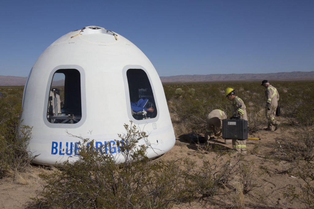 Crew Capsule 2.0 and its huge windows after it safely touched down on Tuesday. Credit: Blue Origin.