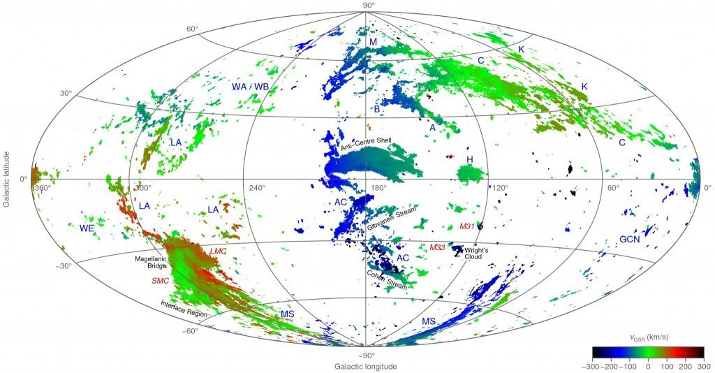 An all-sky map showing the radial velocity of neutral hydrogen gas belonging to the high-velocity clouds of the Milky Way and two neighbouring galaxies, the Large and Small Magellanic Clouds. Credit: ICRAR.