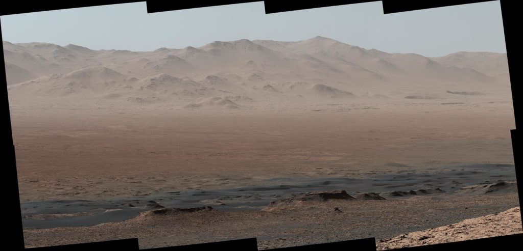"Detailed look of Gale Crater horizon as seen by Curiosity from its ""Vera Rubin Ridge"" viewpoint. Credit: NASA/JPL-Caltech/MSSS."