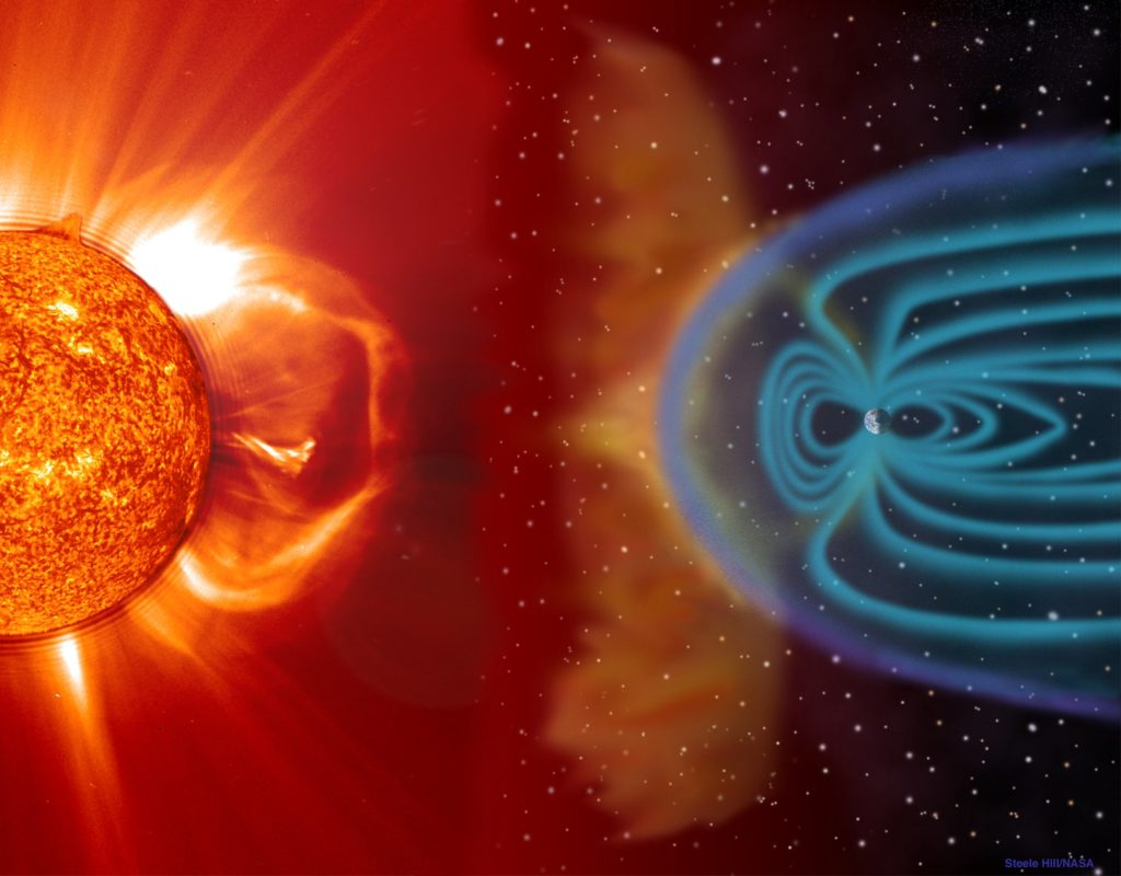 A pole reversal is always preceded by a weakened magnetic field, meaning more cosmic radiation will hit Earth's surface. Credit: NASA.
