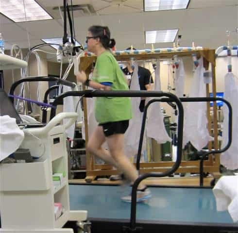 One of the participants, aged 55, exercising on a treadmill. Credit: UT Southwestern.