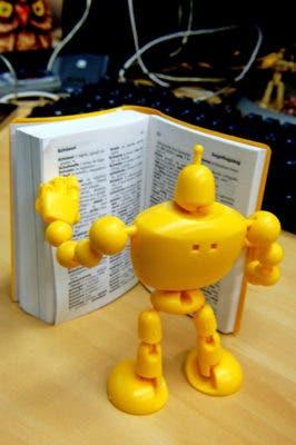 Robot reading.