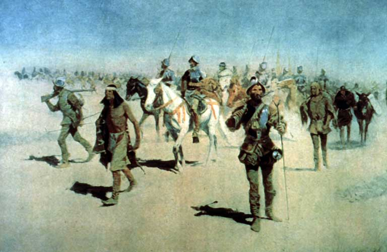 """Coronado sets out to the north"" — oil painting by Frederic Remington Spanish Francisco Vázquez de Coronado Expedition (1540 - 1542), passing through Colonial New Mexico, to the Great Plains. Source: Wikipedia"