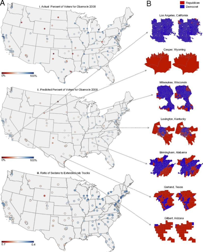 Actual and inferred voting patterns. The maps show the ratio of detected pickup trucks to sedans.The ratio is low in Democratic cities such as those in the East Coast and high in Republican cities such as those in Texas and Wyoming. Credit: PNAS.