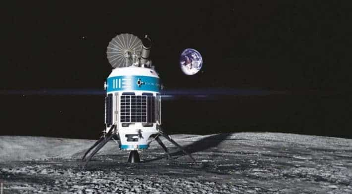 Artist's concept of the MX-1 robotic explorer Moon Express intended to land on the lunar surface. Credit: Moon Express.