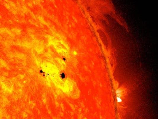 Fast-growing sunspots. Credit: NASA, SDO.
