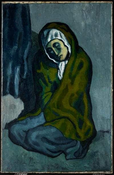 La Miséreuse accroupie, 1902. Oil on canvas, 101.3 x 66 cm (39 7/8 x 26 in.). Art Gallery of Ontario. Credit: Picasso Estate.