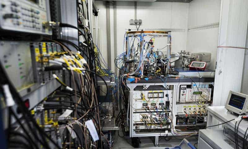 What PTB's transportable optical atomic clock looks like inside the trailer. Credit: Physikalisch-Technische Bundesanstalt (PTB).