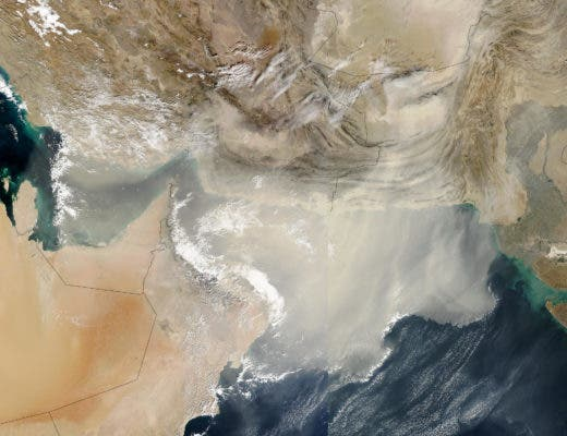 Satellite image of a dust storm blowing large quantities of dust out over the Persian Gulf and Arabian Sea on Saturday, December 13, 2003. Viruses can travel for thousands of miles by riding dust particles and water vapor. Credit: NASA.