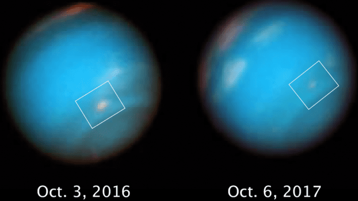 Observations show how Neptune's dark vortex is slowly fading into oblivion. Credit: NASA, UC Berkeley.