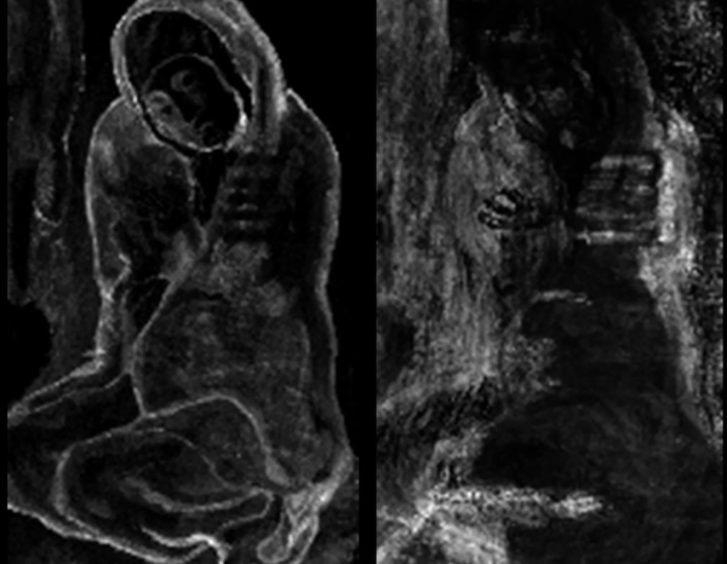 "X-ray fluorescence revealed hidden layers of artwork in Picasso's ""La Miséreuse accroupie. Credit: Northwestern University."