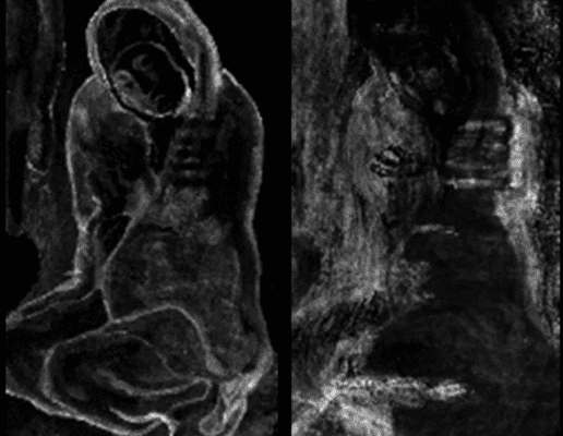 """X-ray fluorescence revealed hidden layers of artwork in Picasso's """"La Miséreuse accroupie. Credit: Northwestern University."""