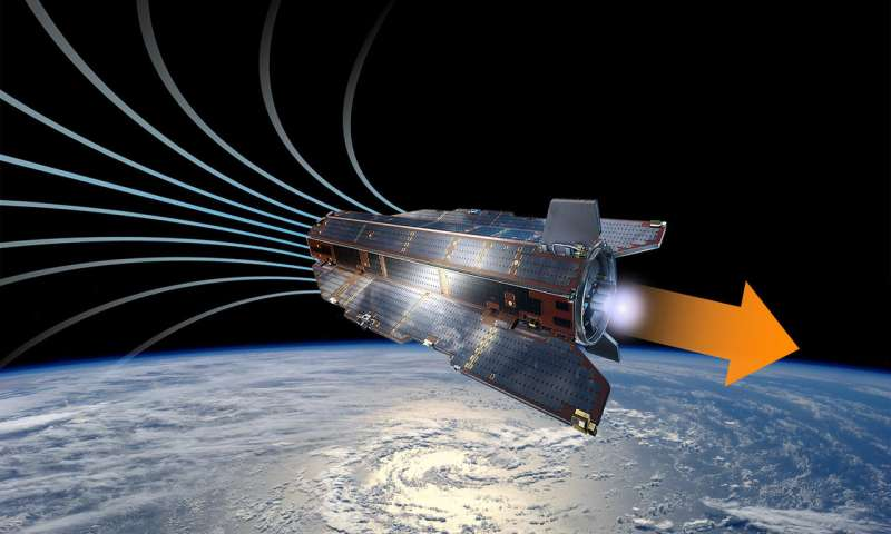 Artist depiction of a low-orbit satellite powered by charged air molecules. Credit: ESA–A. Di Giacomo.