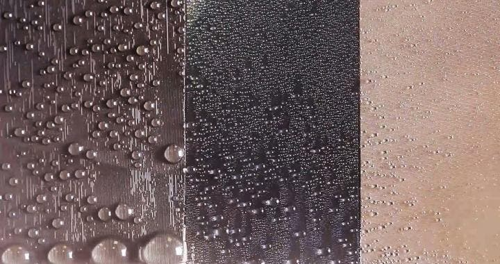 In the image, the left panel is a directional slippery rough surface (SRS, this study), the middle panel is a slippery liquid-infused porous surface (SLIPS) and the right panel is a superhydrophobic surface. This image shows a comparison of water harvesting performance of SRS vs other state-of-the-art liquid repellent surfaces. Credit: Penn State.