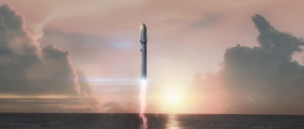 Artist illustation of BFT taking off. Credit: SpaceX.
