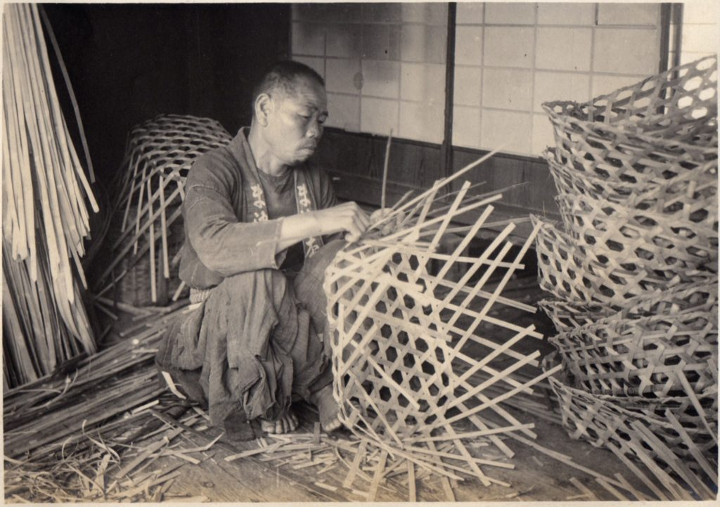 Kagome basket weaver in Japan. Credit: Wikimedia Commons.