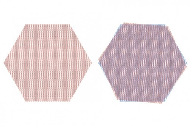 "When rotated at a ""magic angle,"" graphene sheets can form an insulator or a superconductor. Credit: MIT."