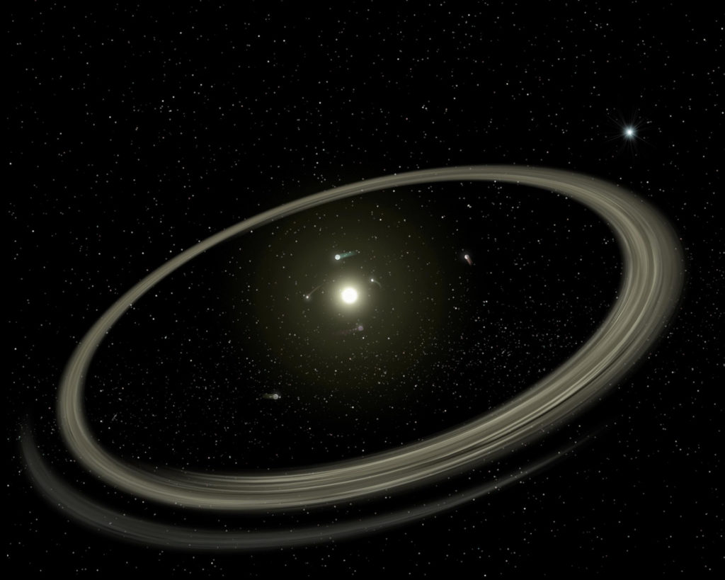 Illustration of a planetary system surrounded by a debris disk. Credit: NASA