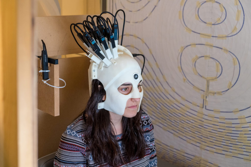 The new generation of brain scanner that can be worn like a helmet. It allows patients to move naturally whilst being scanned. Credit: University of Notthingham.