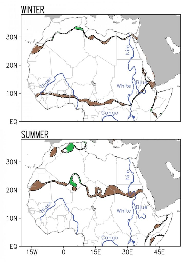 This pair of images shows the change in the boundaries of the Sahara Desert during the period 1920-2013, broken down by season. Dotted lines show the boundary as it existed in 1920, while solid lines show the boundary in 2013; both boundaries are averaged across the three months of each season. (Winter = Dec-Feb; Summer = Jun- Aug). Brown shaded regions indicate desert advance while green shaded regions indicate desert retreat. Credit: Natalie Thomas/Sumant Nigam/University of Maryland.