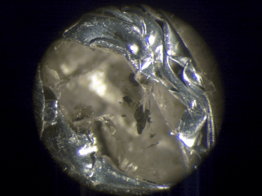 This diamond contains the first evidence of calcium silicate perovskite found in nature. Credit: Nester Korolev, UBC.