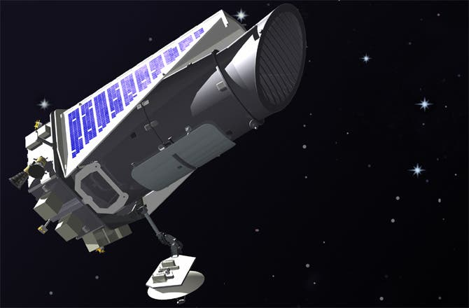 Artist's illustration of the Kepler space telescope in orbit. Image Credit: NASA.