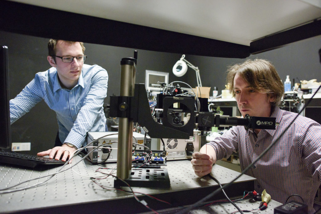 Graduate student David Lindell and Matt O'Toole, a post-doctoral scholar work in the lab. Credit: Stanford News Service.