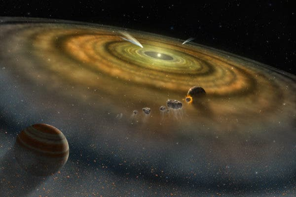 Artist impression of an early solar system. Credit: NASA.