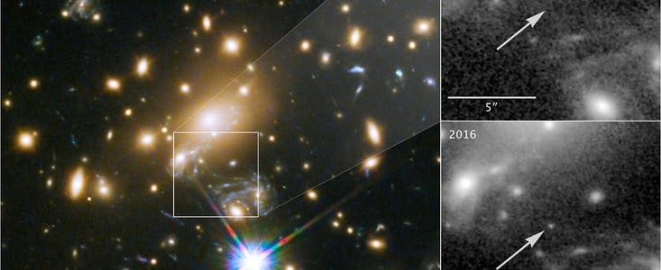 LS1 is the the farthest individual star scientists have ever witnessed. Right panels: region of the sky from 2011 when LS1 wasn't visible and the same patch in 2016 when gravitational lensing enabled observation. Credit: P. Kelly, University of Minnesota/NASA/ESA.