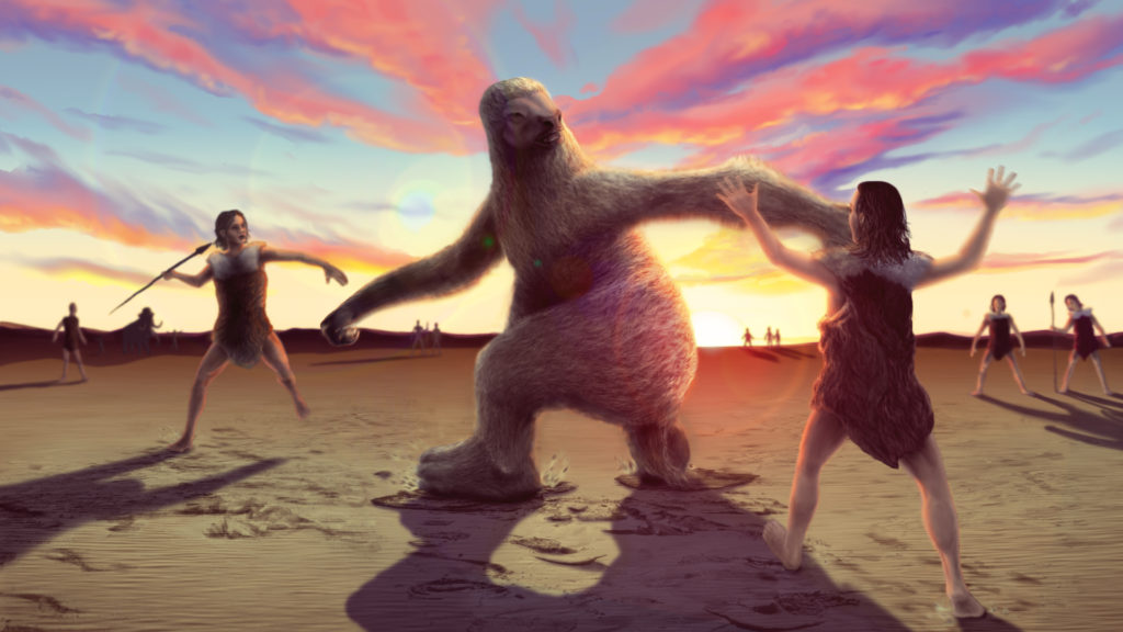 An artist's illustration of an ancient encounter between human hunters and a giant ground sloth. Credit: Alex McClelland/Bournemouth University.