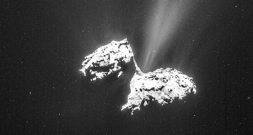 Real photo of 67P/Churyumov-Gerasimenko. Credit: NAVCAM/ROSETTA/ESA.