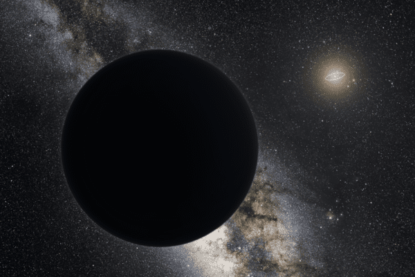 Artist's impression of Planet Nine as an ice giant eclipsing the central Milky Way, with a star-like Sun in the distance. Neptune's orbit is shown as a small ellipse around the Sun. The sky view and appearance are based on the conjectures of its co-proposer, Mike Brown. Credit: Tom Ruen, Wikimedia Commons.