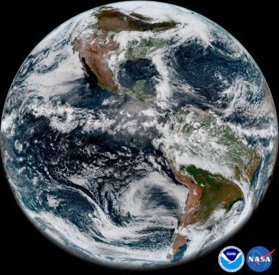 The new satellite took this full-disk snapshot of Earth's Western Hemisphere from its checkout position at 12:00 p.m. EDT on May 20, 2018, using the Advanced Baseline Imager (ABI) instrument. Credit: NOAA/NASA.