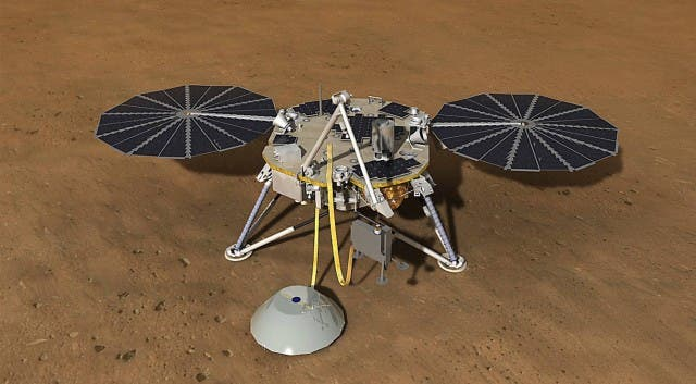 Illustration of NASA's InSight quake-monitoring lander. Credit: NASA.