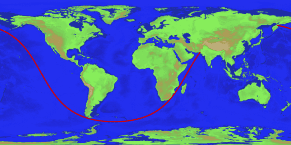 Longest Sailable Straight Line Path on Earth. Credit: R. CHABUKSWAR ET AL