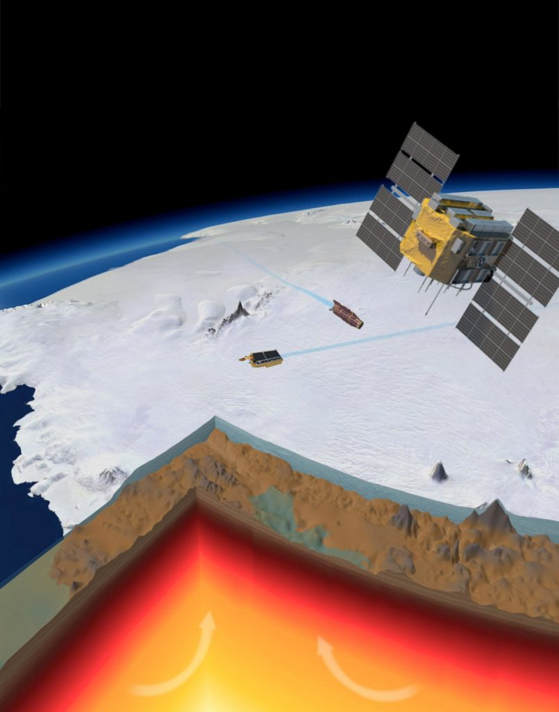 A picture of Amundsen Sea Embayment in West Antarctica with the ice sliced to show the bedrock and the earth cut to show the crust (brown) the bottom of the lithosphere (red area) and the mantle (yellow). Credit: Planetary Visions/ESA.