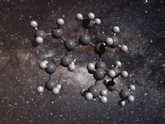 Illustration of the structure of a greasy carbon molecule. In this picture, carbon atoms are colored grey while hydrogen atoms are white spheres. Credit: Royal Astronomical Society.