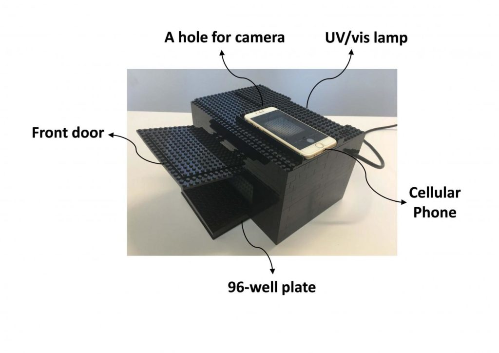 Scientists designed a nerve agent detector using LEGO bricks and a smartphone. Credit: American Chemical Society.