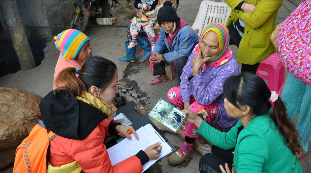 Researchers interviewed locals about their cultural knowledge of Hainan gibbons. Credit: Helen Nash / ZLS.