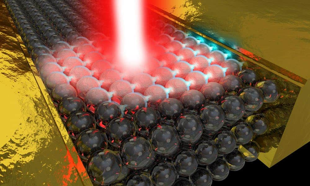 Femtosecond laser pulses can distort the properties of matter and generate electricity. Credit: University of Rochester illustration / Michael Osadciw.