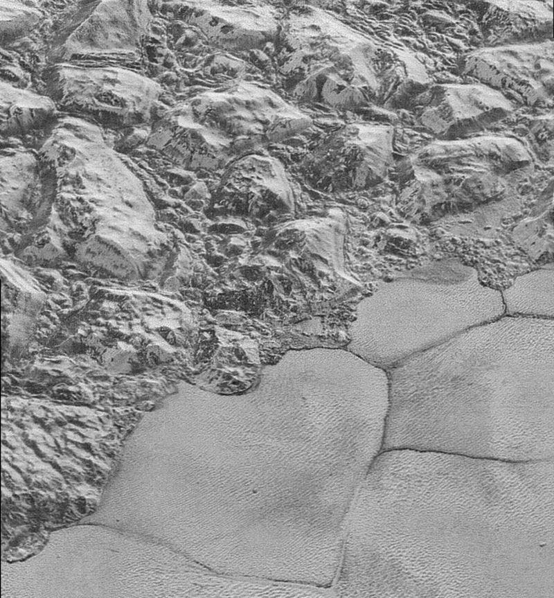 Finger-print like pattern observed near al-Idrisi Montes mountain on Pluto. Credit: NASA.