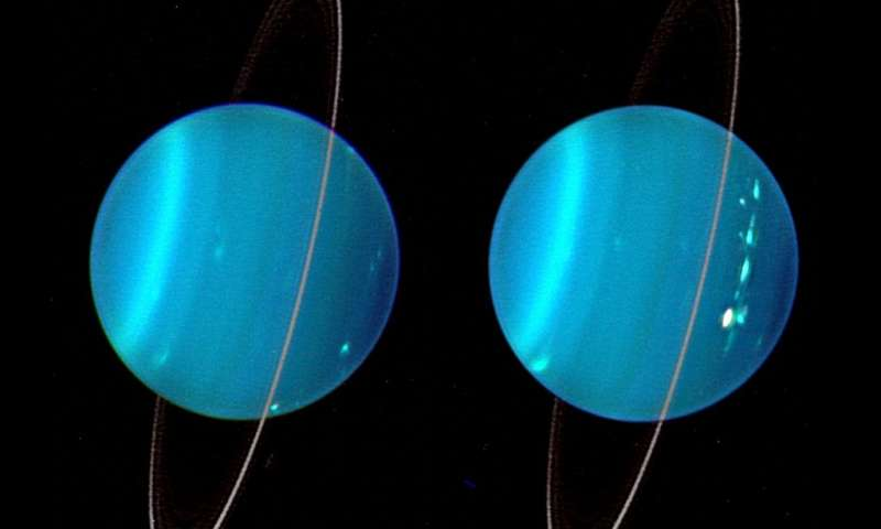 2004 infrared composite image of the two hemispheres of Uranus obtained with Keck Telescope adaptive optics. The planet is tilted at almost a 90 degree angle with respect to the other planets in the solar syste. Credit: Lawrence Sromovsky, University of Wisconsin-Madison/W.W. Keck Observatory.
