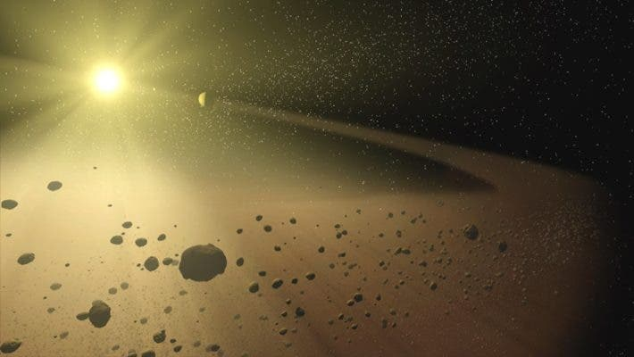 Illustration of an asteroid belt. Credit: NASA.