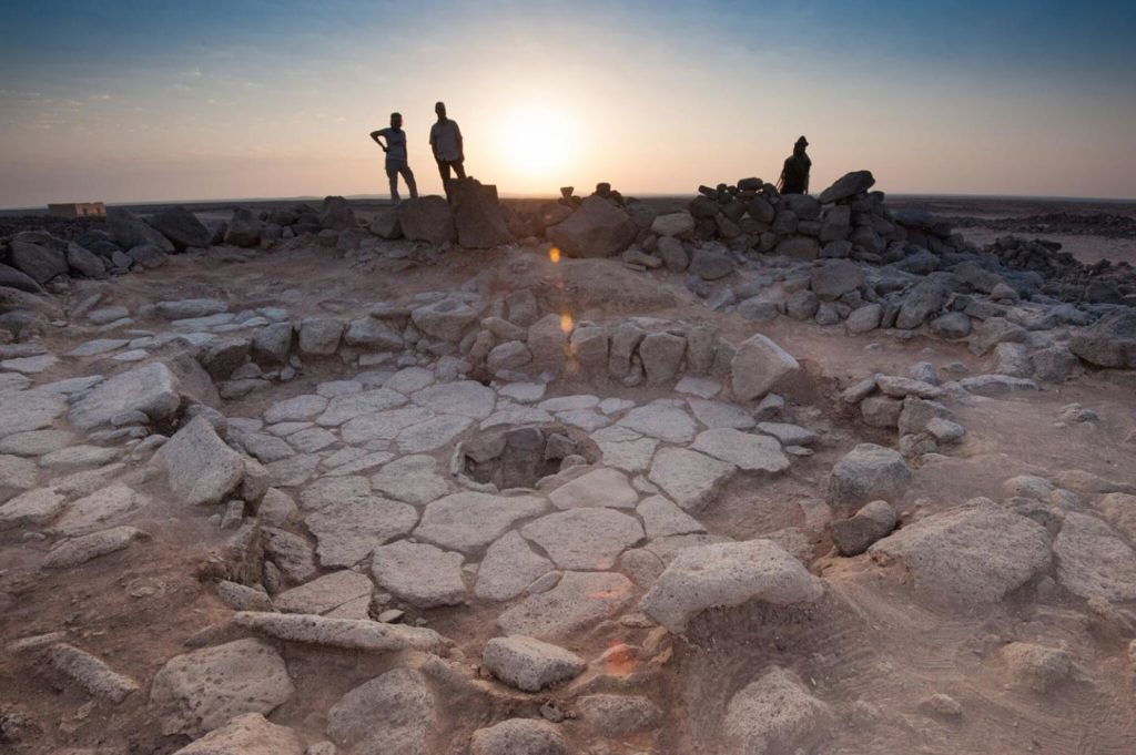 One of the stone structures of the Shubayqa 1 site. The fireplace, where the bread was found, is in the middle. Credit: Alexis Pantos.