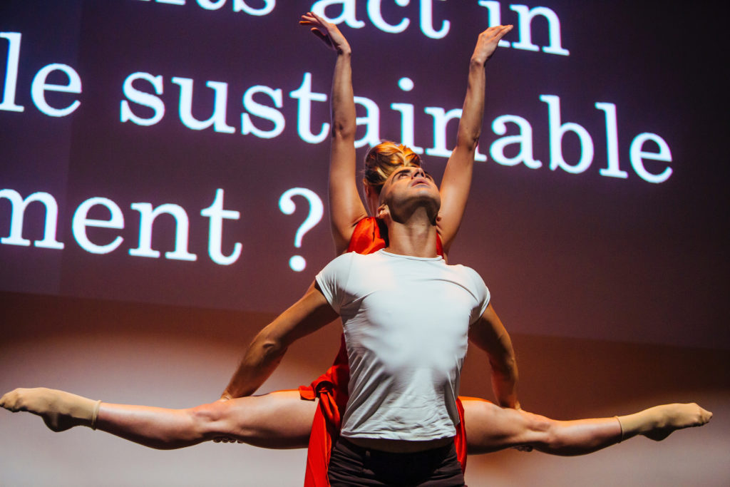 Gloria Benedikt and Mimmo Miccolis performing 'COURAGE' at th e European Forum Alpbach Political Symposium 2016. Credit: IIASA.