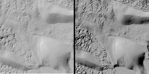The same region seen with prior available surface imaging (left) and REMA (right).