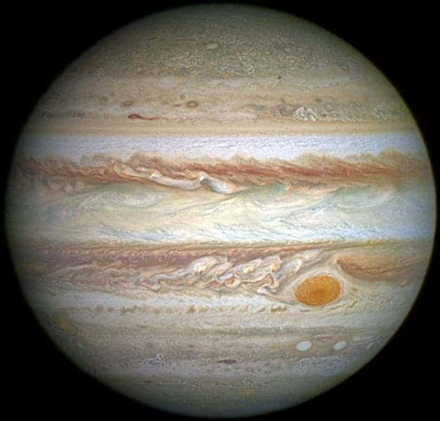 Jupiter and its shrunken Great Red Spot. Credit: Wikimedia Commons.