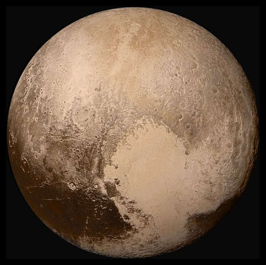 Global LORRI mosaic of Pluto in true colour. Credit: NASA.