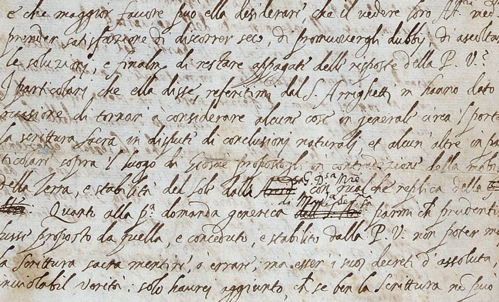 In his original letter, Galileo criticized the church but later used a softer language. Credit: The Royal Society.