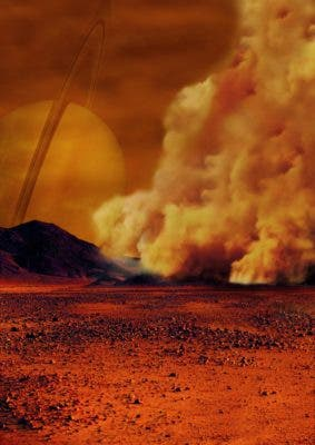 Artist impression of a dust storm on Titan. Credit: IPGP/Labex UnivEarthS/University Paris Diderot – C. Epitalon & S. Rodriguez.